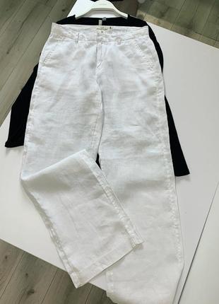 Белые штаны палаццо h&m лён