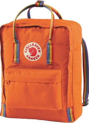 Рюкзак fjallraven kanken канкен classic rainbow 16л радуга с радужными ручками оранжевый с лисой