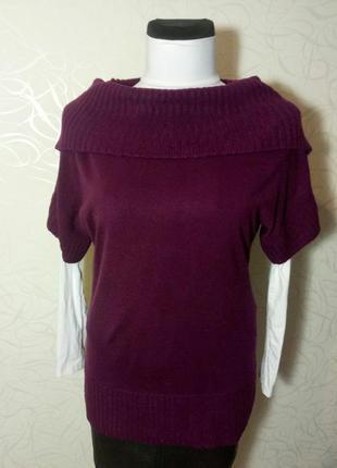 Длинный сливовый свитер e-vie с интересным воротом