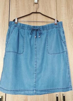 Стильная легенькая джинсовая юбка юбочка спідниця размер 54-56