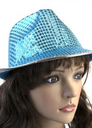 Шляпа диско твист голубая