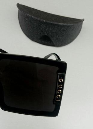 Gucci очки женские солнцезащитные большие модные черные9 фото