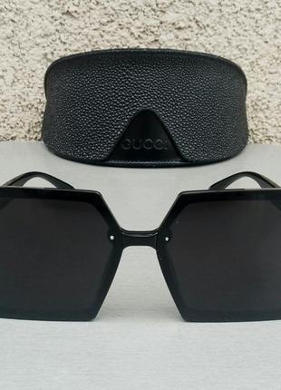 Gucci очки женские солнцезащитные большие модные черные2 фото