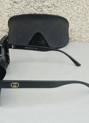 Gucci очки женские солнцезащитные большие модные черные3 фото