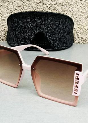 Gucci очки женские солнцезащитные большие модные коричневый градиент в розовой оправе