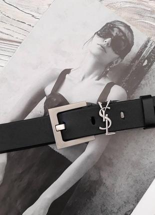Ремень женский кожаный черный в стиле ysl / ремінь жіночий шкіряний
