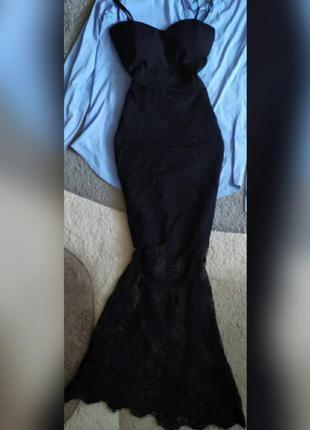 Красивое длинное вечернее нарядное платье рыбка гипюровое кружевное