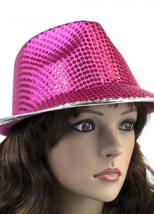 Шляпа диско твист малиновая
