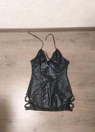 Черный полу боди, карсет, имитация кожи