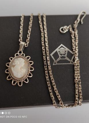 Кулон камея на раковине, серебро, шведское клеймо, винтаж