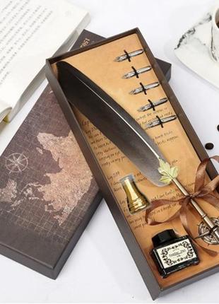 Подарочный сувенирный набор для каллиграфии серое перо