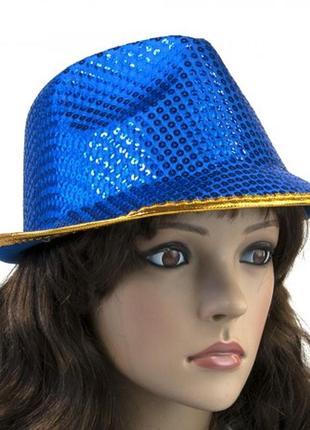 Шляпа диско твист синяя