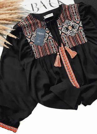 Брендовая блузка вышиванка свободного кроя marks & spencer