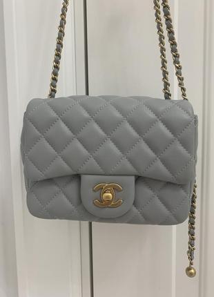 Сумка мини chanel square mini pearl crush gray