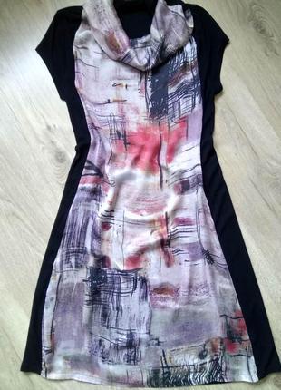 Интересное прямое миди платье pennyblack из шелка и трикотажа/абстрактный принт