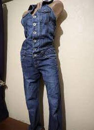 Очень красивый стильный джинсовый комбинезон с открытой спиной,vingino италия