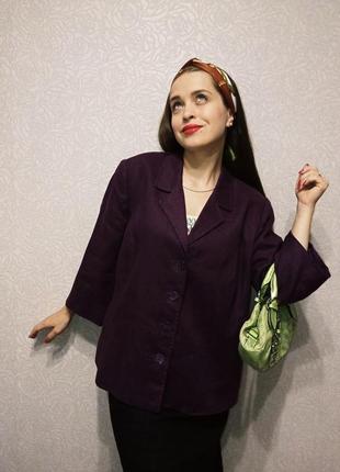 Жакет лён натуральный пиджак льняной большой размер 20