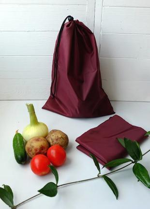 Эко мешок из плащевки бордовый, эко торбочка, мешок для продуктов,тканевой пакет