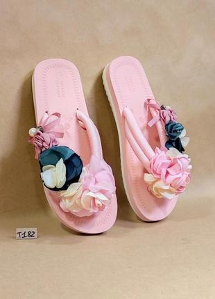 Розовые вьетнамки шлепки (код т 182) розові рожеві капці шльопанці в'єтнамки