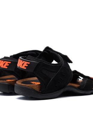 Мужские кожаные повседневные сандали  найк🆕nike🆕черные сандали на липучках