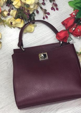 Итальянские кожаные сумки среднего размера бордовые кросбоді жіночі шкіряні