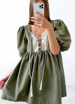 Новое женское стильное летнее лёгкое хаки платье из льня льняное платье .