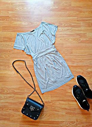 Женская летняя брендовая серая туника - удлиненная футболка mango - размер 42-44