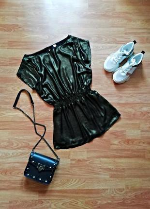 Женская вечерняя гламурная блестящая брендовая блуза - туника h&m - размер 42-46