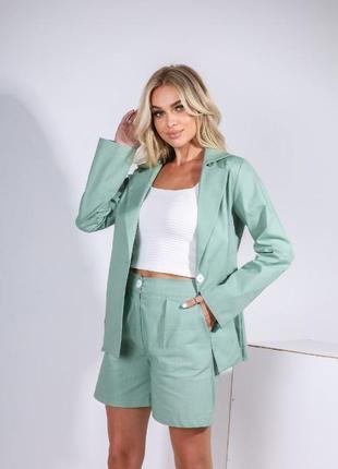 Льняной женский костюм ( пиджак + шорты)