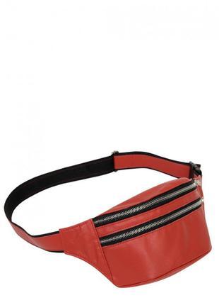 Женская красная поясная сумка из натуральной кожи