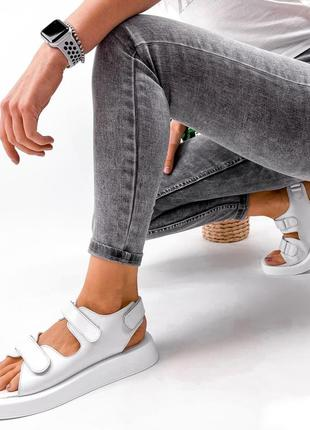Босоножки♥️love♥️женские кожа белые базовые на липучках сандали