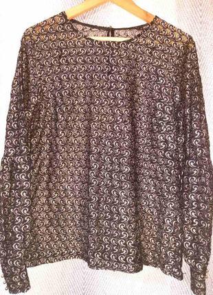 Женская гипюровая блуза. шикарная черная с люрексом вечерняя кружевная блузка dayz .