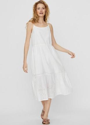 Vero moda платье с воланами из органического хлопка