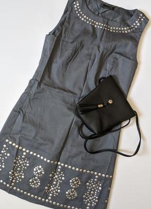 Серое платье с заклёпками vero moda