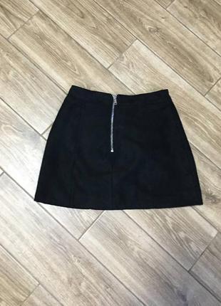 Мини юбка черная с молнией, трапеция, есть подкладка