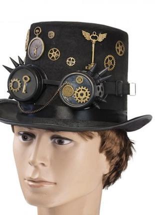 Цилиндр шляпа стимпанк с гогглами роскошный аксессуар