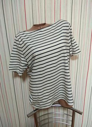 Полосатая трикотажная футболка h&m,футболка в полоску