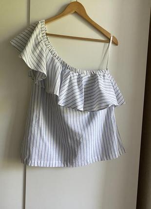 Шикарная льняная блуза топ на одно плечо новая!