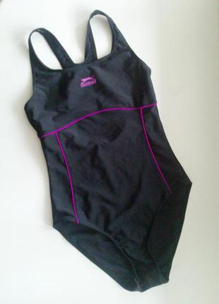 34-36р. чёрный сплошной купальник для плавания, бассейна slazenger