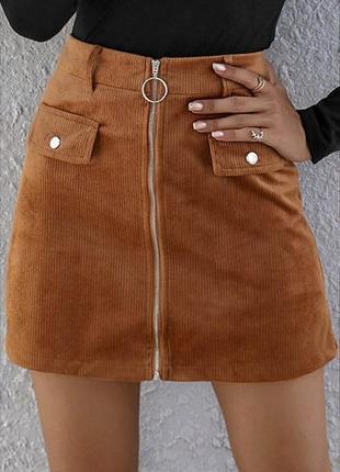 Італійська літня вельветова спідниця юбка трапеция