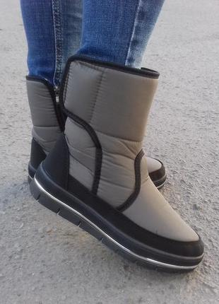 Ботинки на меху зимние женские дутики 23,5 см