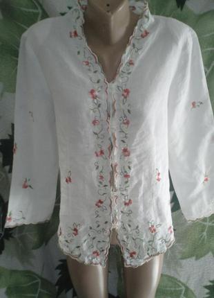 Рубашка блуза  жакет лен льняная льоновая  вышитые цветы италия