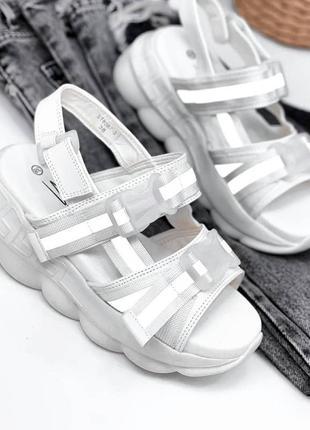 Босоножки текстиль на платформе 🍓 сандалии лето рефлектор на липучке спортивные