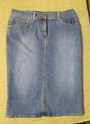 Джинсовая юбка миди на талии