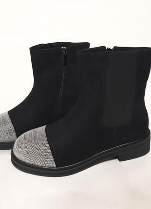 Зимние черные женские ботинки из эко-замши