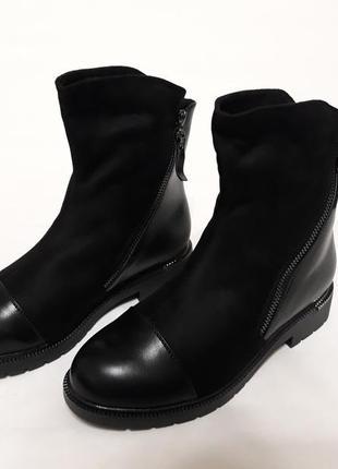 Женские зимние комбинированные ботинки, эко-замш + эко-кожа