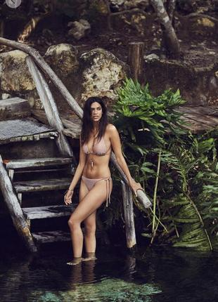 Пудра пудровый сверкающий люрекс верх бюст треугольники купальник women'secret s/m
