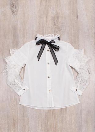 Блузка рубашка для девочки белая нарядная с рюшами турция