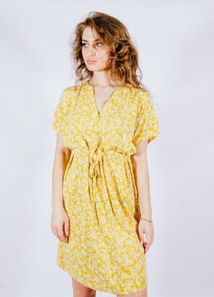 Літня сукня жовта з принтом, летнее платье желтое с цветочным принтом, сукня, плаття