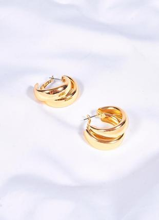 Женские серьги кольца, золотистые сережки, стильные серьги винтажные, серьги под винтаж